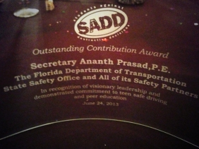 Secretary Prasad honored at SADD 2013 National Conference